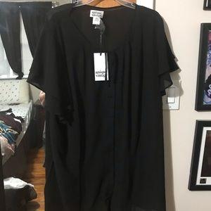 Unique Vintage Tops - 1940s Style Black Chiffon Cap Sleeve Blouse